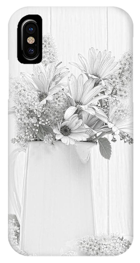 Vase IPhone X Case featuring the photograph Sketched Vase Of Flowers by Amanda Elwell
