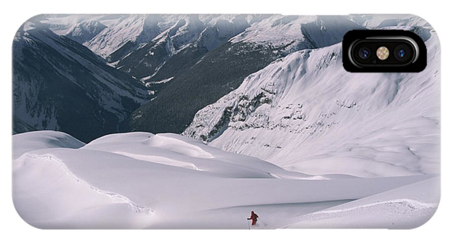 Model Released Photography IPhone X / XS Case featuring the photograph Skier Phil Atkinson Heads Down Mount by Tim Laman