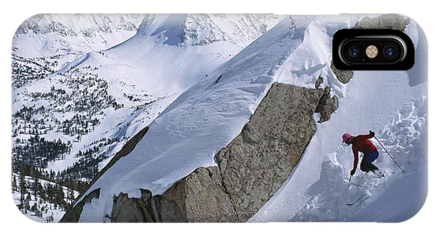 Model Released Photography IPhone X / XS Case featuring the photograph Skier Phil Atkinson Skis A Gully by Tim Laman