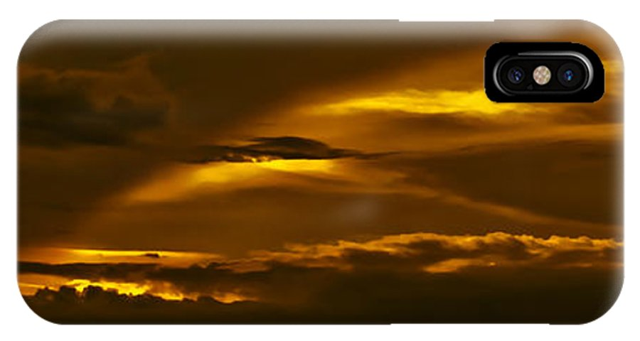 Sunset IPhone X Case featuring the photograph Sky Of Golden Fleece by DigiArt Diaries by Vicky B Fuller