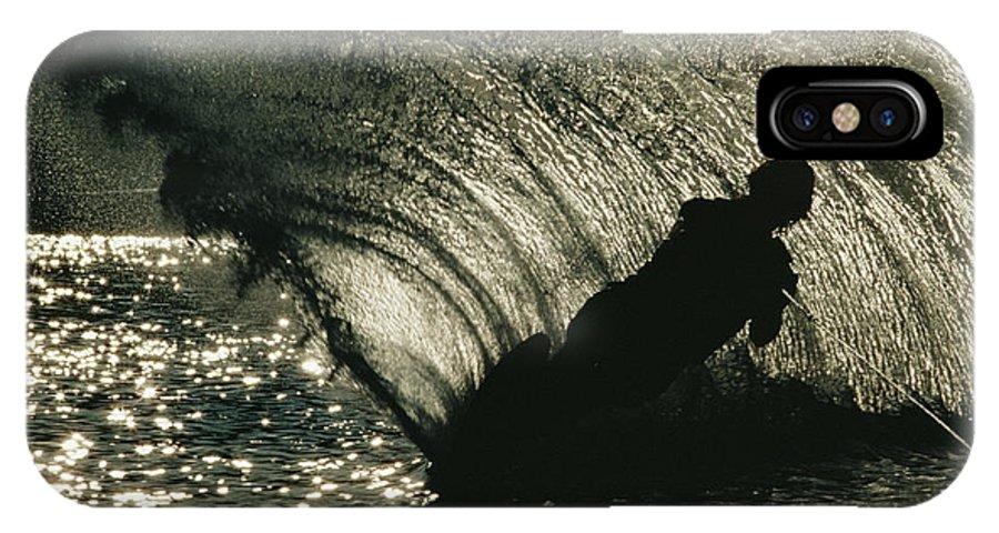 Subject IPhone X / XS Case featuring the photograph Slalom Waterskier Silhouette by Skip Brown