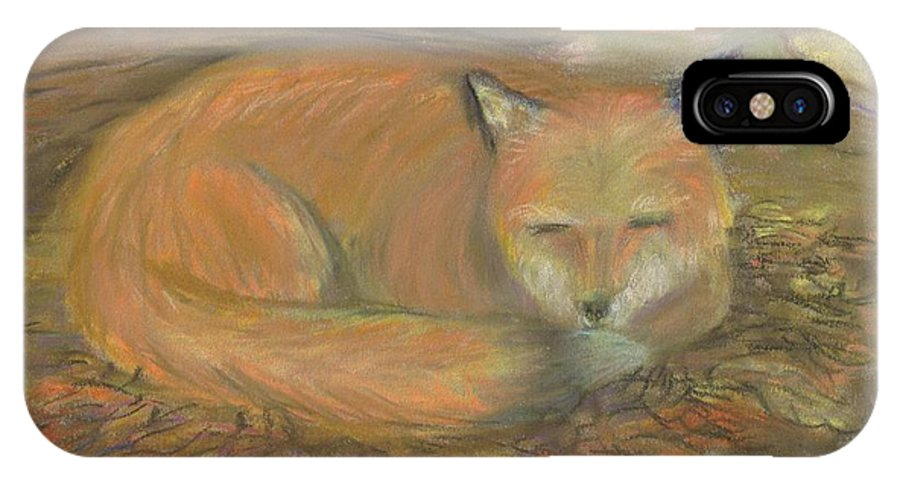 Fox IPhone X / XS Case featuring the pastel Sleeping Fox by Lisa Guarino
