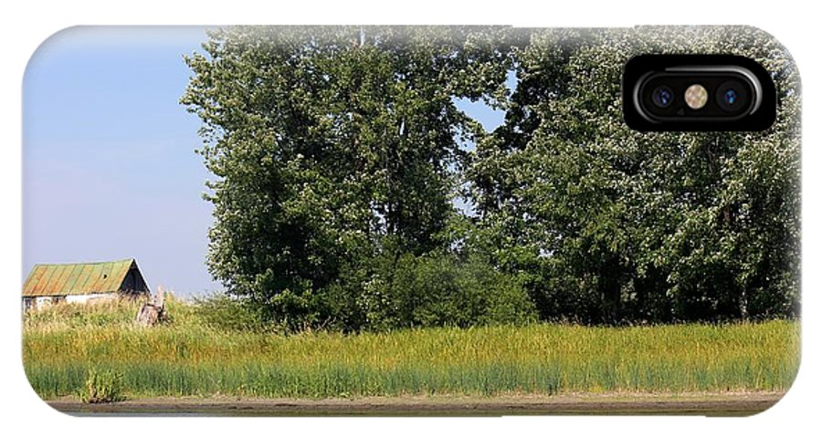 Barn IPhone X Case featuring the photograph Small Barn Big Trees by Sophie Vigneault