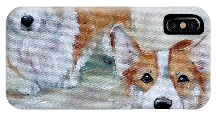 Art IPhone X / XS Case featuring the painting Smarty And Rosie by Mary Sparrow