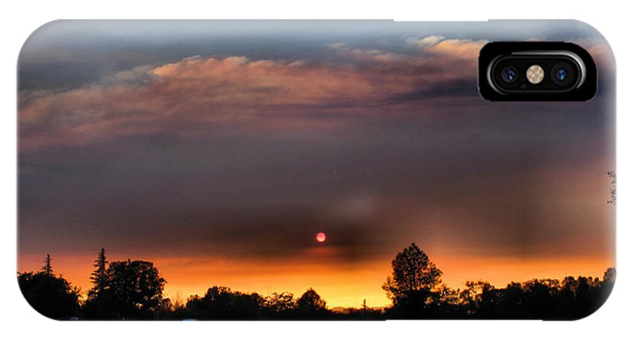 Sunset IPhone X Case featuring the photograph Smoky Sunset Wide Angle 08 27 12 by Joyce Dickens