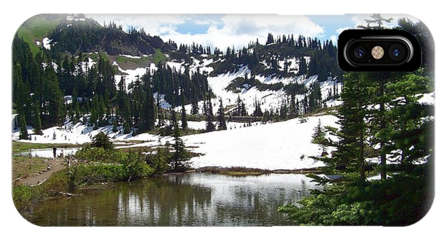 Snow IPhone X Case featuring the photograph Snow At Tipsoo Lake by Charles Robinson