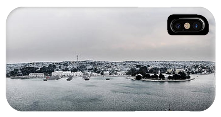 Mediterranean IPhone X Case featuring the photograph snow in port mahon - A very rare image of a mediterranean villa sided to sea covered of white by Pedro Cardona Llambias