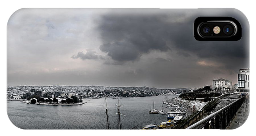 Mediterranean IPhone X Case featuring the photograph snow in port mahon - A very rare image of a mediterranean villa sided to sea covered of snow by Pedro Cardona Llambias