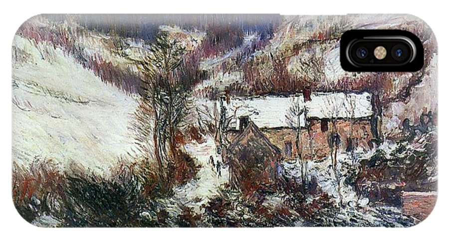 Snow Near Falaise IPhone X Case featuring the painting Snow Near Falaise by Claude Monet