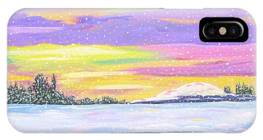 Beautiful Sky IPhone X Case featuring the painting Snow Storm by Phyllis Kaltenbach