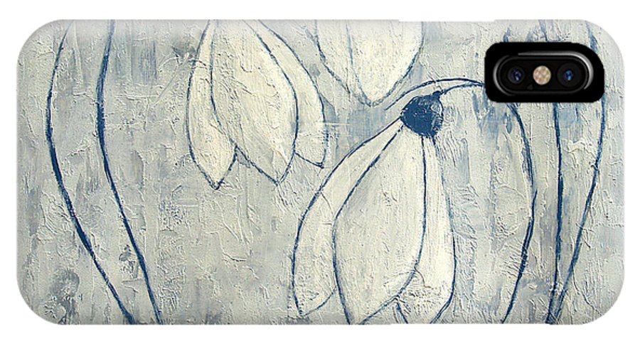 Snowdrop IPhone X Case featuring the painting Snowdrops by JG Keevil