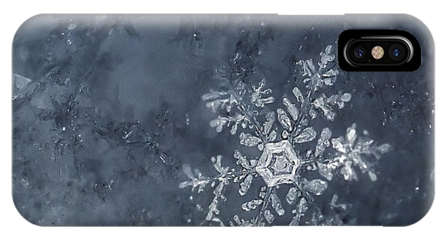 Snowflakes IPhone X / XS Case featuring the photograph Snowflake In Blue by Beth Riser