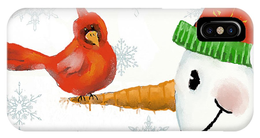 Christmas IPhone X Case featuring the digital art Snowman And The Cardinal by Arline Wagner