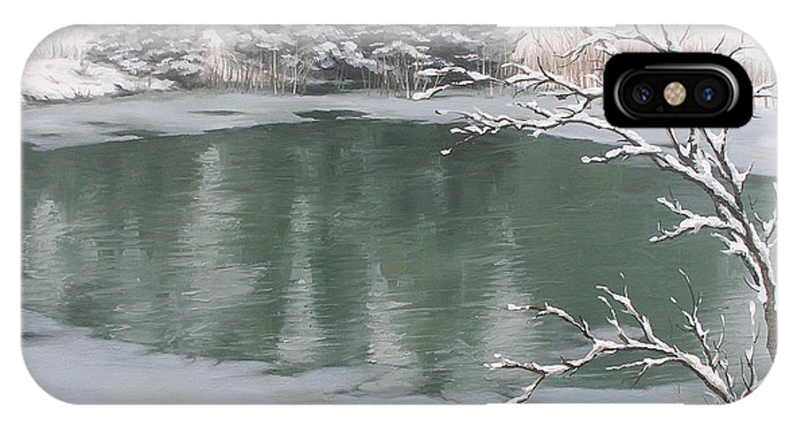 Landscape IPhone X Case featuring the painting Snowy Day by Olena Lopatina