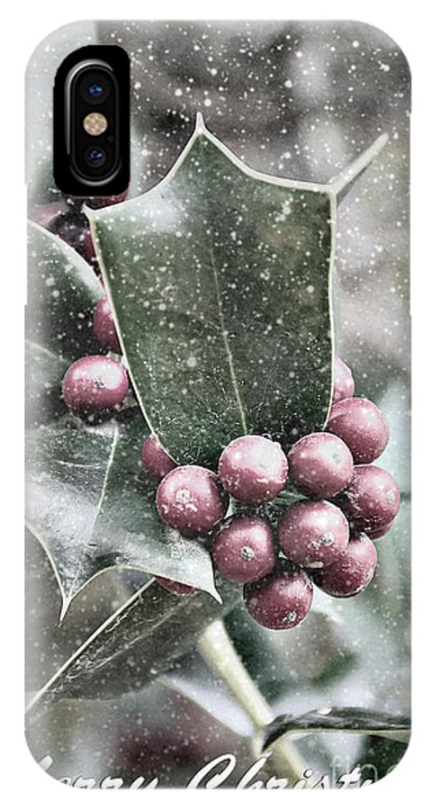 Snowy IPhone X Case featuring the photograph Snowy Holly Christmas Card by Jim And Emily Bush