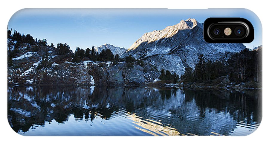 Autumn IPhone X Case featuring the photograph Snowy Mountain Reflections by MakenaStockMedia