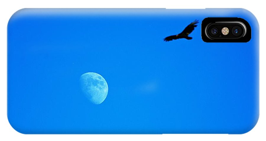 Moon IPhone X Case featuring the photograph Soaring Over The Moon by Eric Tressler