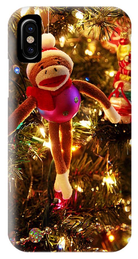 Christmas IPhone X Case featuring the photograph Sock Monkey Is In The Season by Toni Hopper
