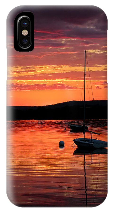 Clouds IPhone X Case featuring the photograph Solitary Sailboat At Sundown by Mark Sellers