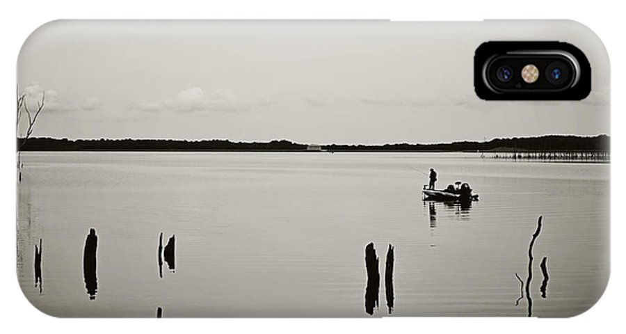 Solitude Fishing Manasquan Reservoir IPhone X Case featuring the photograph Solitude Fishing Manasquan Reservoir by Terry DeLuco