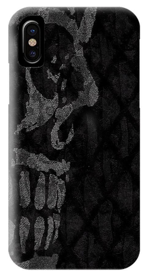 Skull IPhone X Case featuring the digital art Sombre Skull by Roseanne Jones