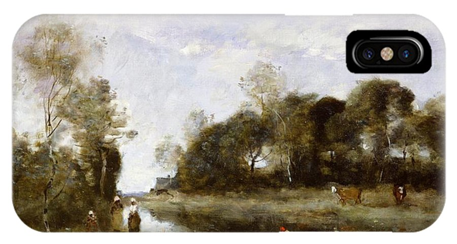 Souvenir IPhone X Case featuring the painting Souvenir Of The Bresle At Incheville by Jean Baptiste Camille Corot