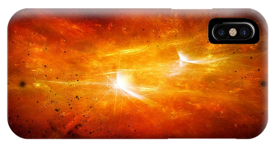 Abstract IPhone X Case featuring the digital art Space008 by Svetlana Sewell