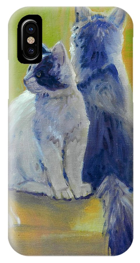 Cats IPhone X Case featuring the painting Spanky And Booboo by Donald Maier