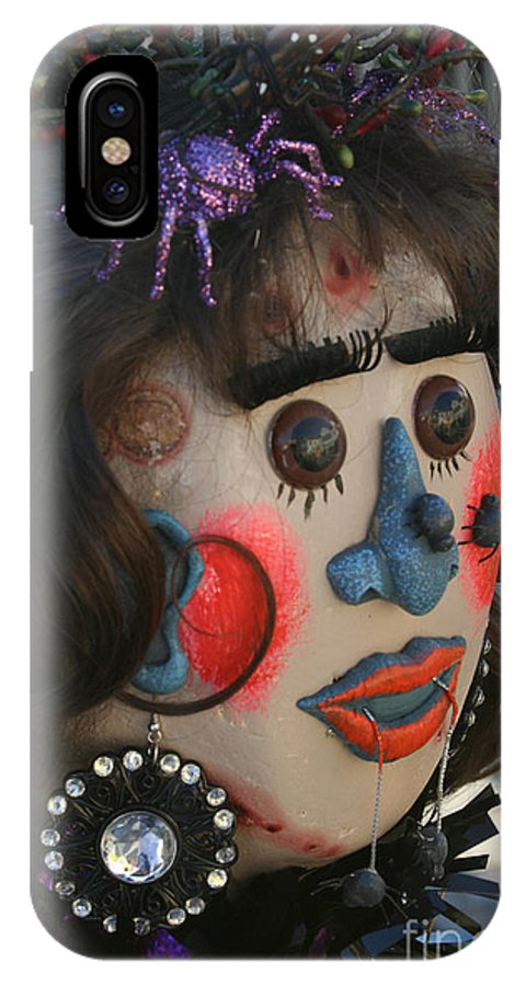 Fall IPhone X Case featuring the photograph Spiderwoman Scarecrow by Susan Herber