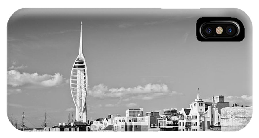 Portsmouth IPhone X Case featuring the photograph Spinnaker Tower And Round Tower Portsmouth Bw by Gary Eason