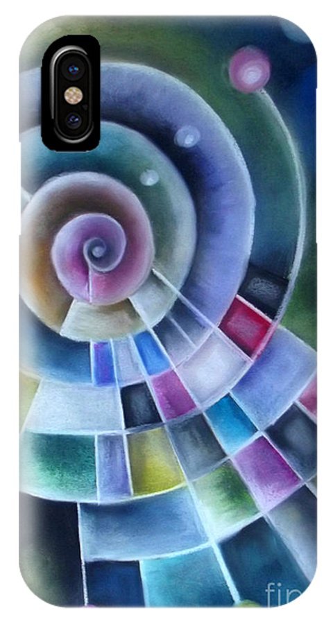 Colourful IPhone X Case featuring the pastel Spinning by Caroline Peacock