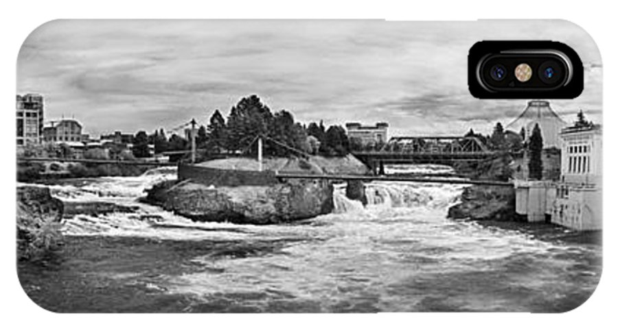 B&w IPhone X Case featuring the photograph Spokane Falls From Lincoln Street Bridge In B And W by Lee Santa