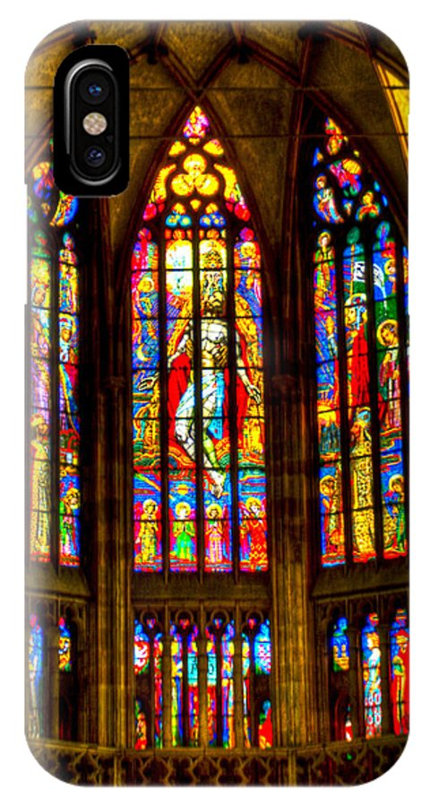 St Vitus Cathedral IPhone X Case featuring the photograph St Vitus Main Altar Stained Glass by Jon Berghoff