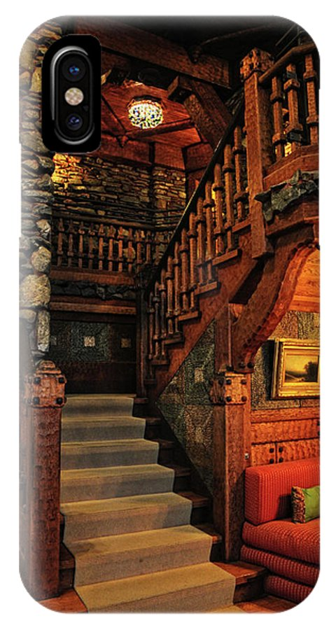 Gillette Castle IPhone X Case featuring the photograph Stairway In Gillette Castle Connecticut by Dave Mills