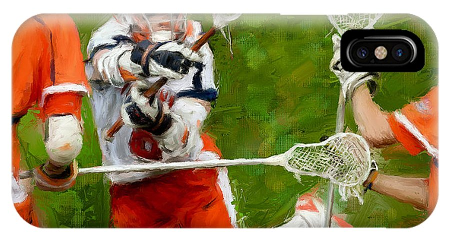 Lacrosse IPhone X Case featuring the painting Stanwick Lacrosse 2 by Scott Melby