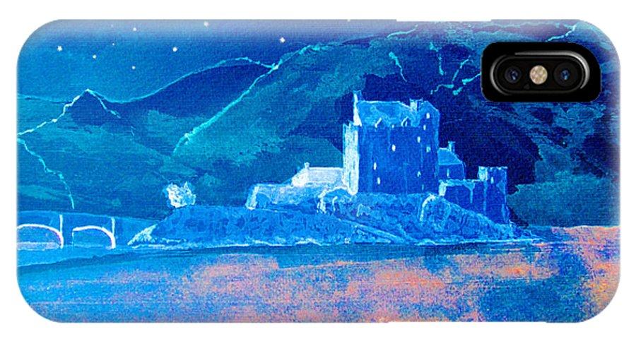 Eilean Donan Castle IPhone X Case featuring the digital art Starry Night Eilean Donan Castle by Louise Grant