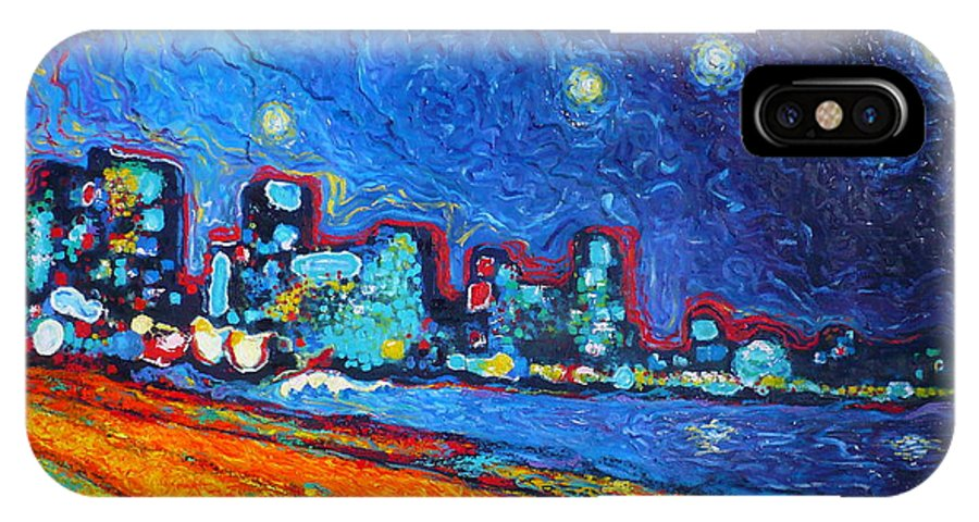 Expressionism IPhone X Case featuring the painting Starry sky over Bocagrande by Ericka Herazo