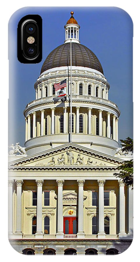 California IPhone X Case featuring the photograph State Capitol Building Sacramento California by Christine Till