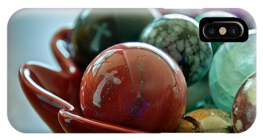 Objects IPhone X Case featuring the photograph Still Life Crosses Reflected In Bowl Of Glass Marbles Art Prints by Valerie Garner