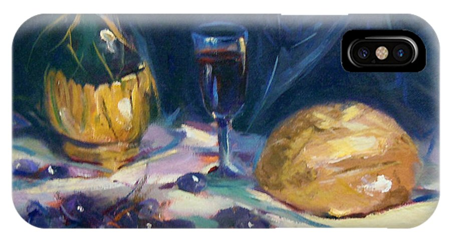 Still Life IPhone X Case featuring the painting Still Life With Grapes by Nancy Griswold
