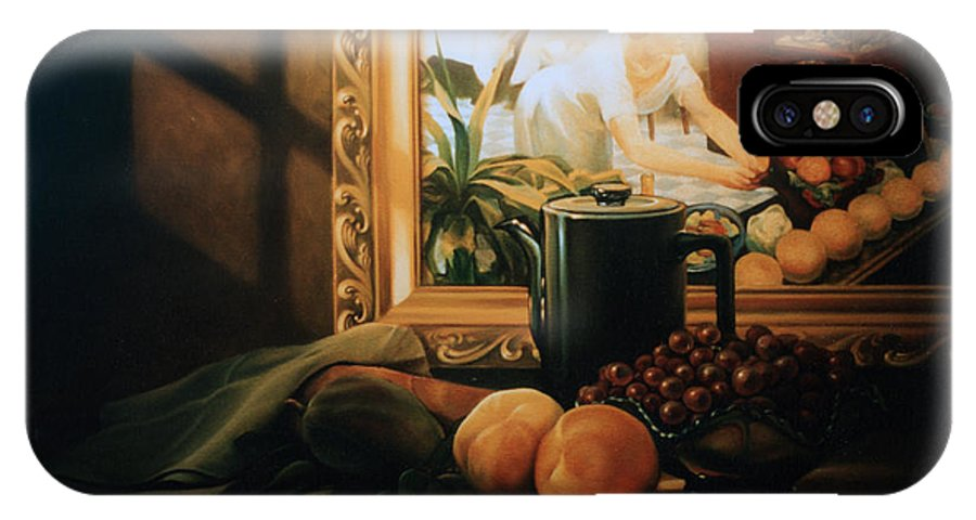 Peaches IPhone X Case featuring the painting Still Life With Hopper by Patrick Anthony Pierson