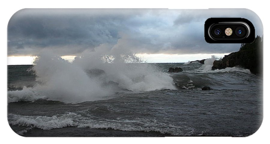 Storm On Black Beach Lake Superior IPhone X Case featuring the photograph Storm On Black Beach by Joi Electa