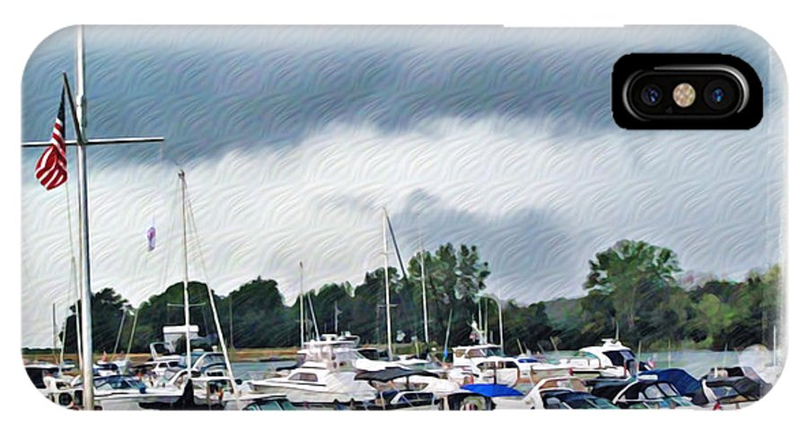 Erie IPhone X / XS Case featuring the photograph Storm Over Lake Erie by Joan Minchak