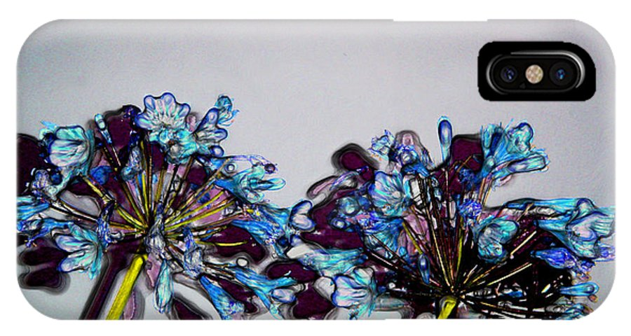 Blue And Mauve Flowers IPhone X Case featuring the digital art Strange Flowers by Baato