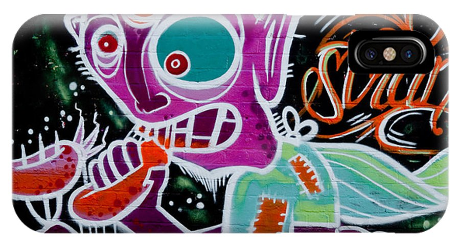 Graffiti IPhone X Case featuring the painting Strange Graffiti Creature Eating Sausages by Yurix Sardinelly
