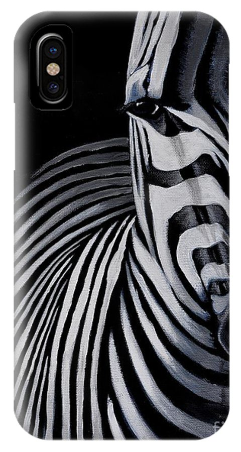 Zebra IPhone X Case featuring the painting Striped by Preethi Mathi