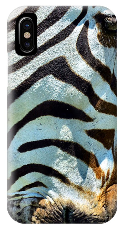 Black IPhone X Case featuring the photograph Stripes by Art Dingo
