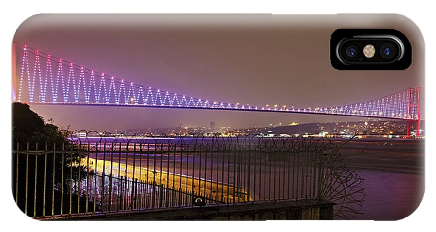 Interesting IPhone X Case featuring the photograph Stunning Istanbul Bridge by Kantilal Patel