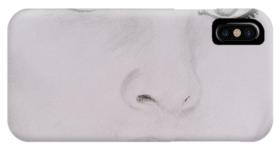 Eyes IPhone X Case featuring the drawing Stunning by Nik English