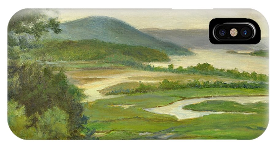 Hudson River IPhone X Case featuring the painting Summer Morning Hudson Highlands by Phyllis Tarlow